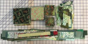 Fabric cut into blocks, strips and crumbs