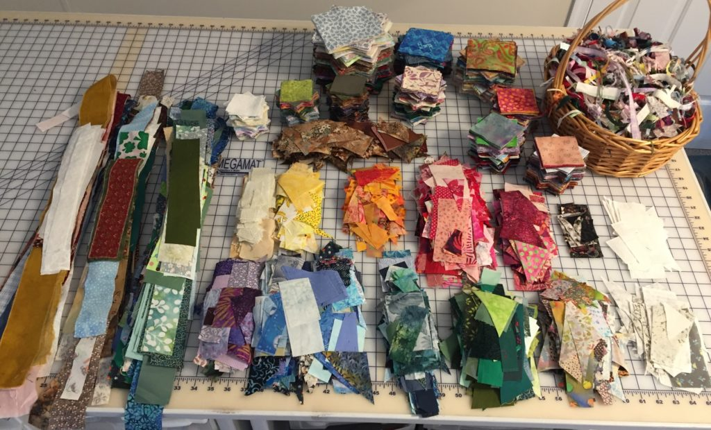 Cut and organized scraps