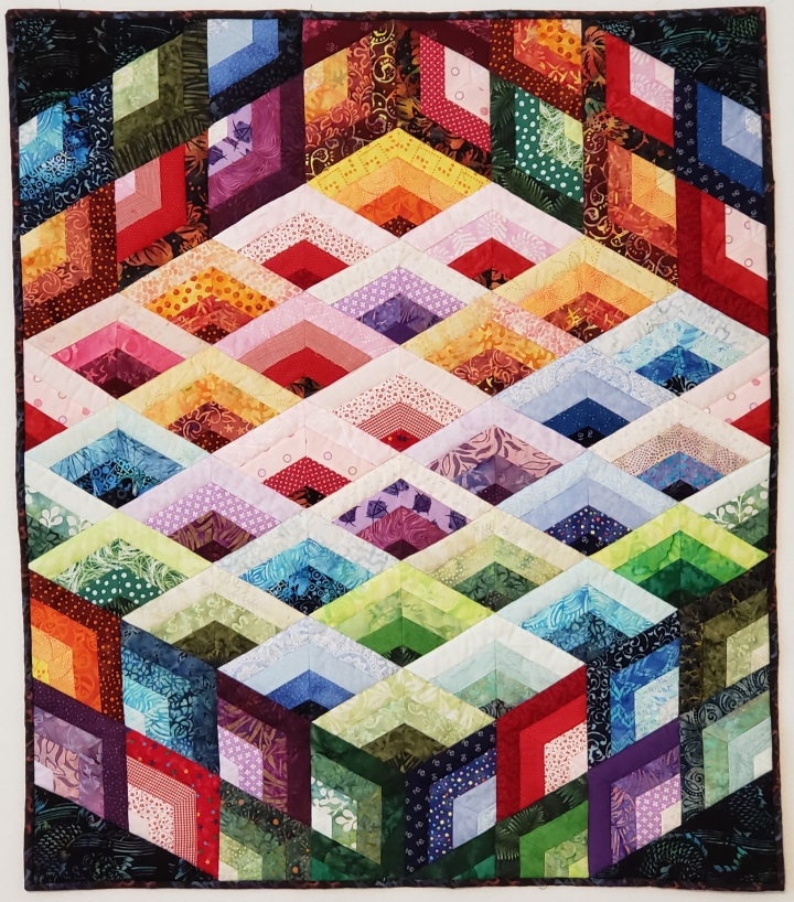3 Dimensional Lattice Quilt. From the article, Color Concepts in Scrap Quilts