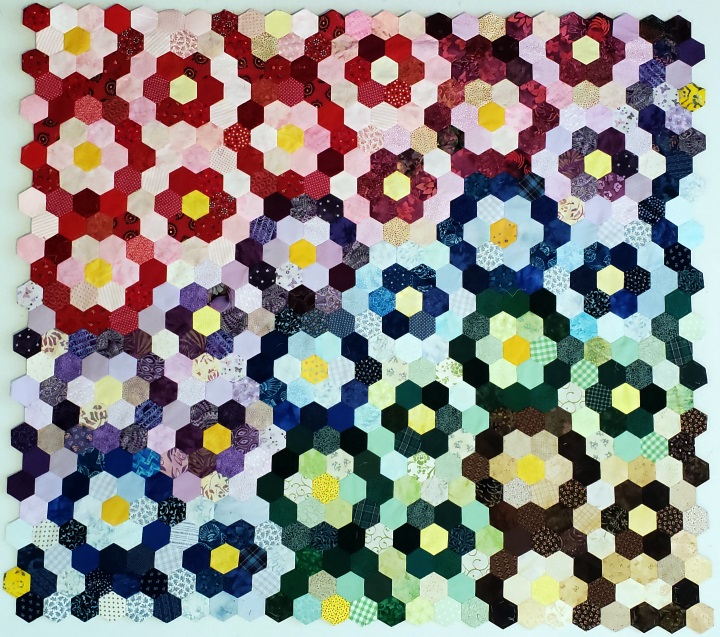 Scrap Hexi variation of Grandmothers Flower Garden. From the article, Color Concepts in Scrap Quilts
