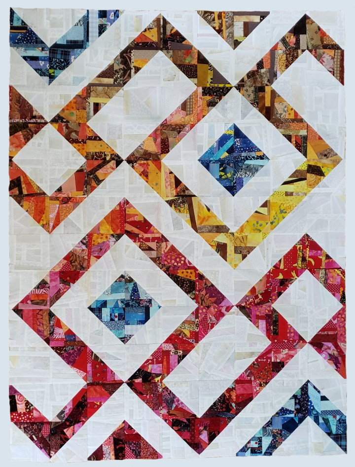 "This beautiful quilt is made entirely of crumb blocks for my article ""Quilts from Crumbs"""